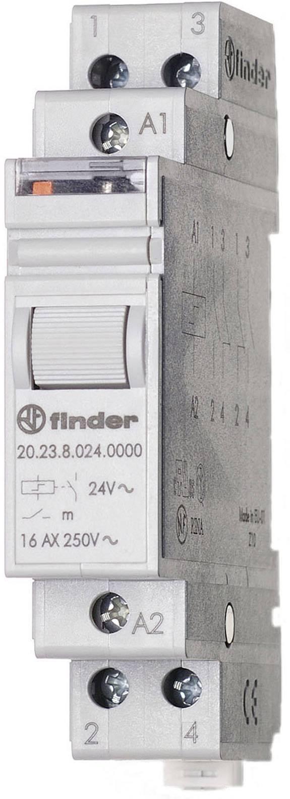 Impulsní spínač Finder 20.23.9.024.4000, 1 spínací kontakt, 1 rozpínací kontakt, 24 V/DC, 16 A, 4000 VA