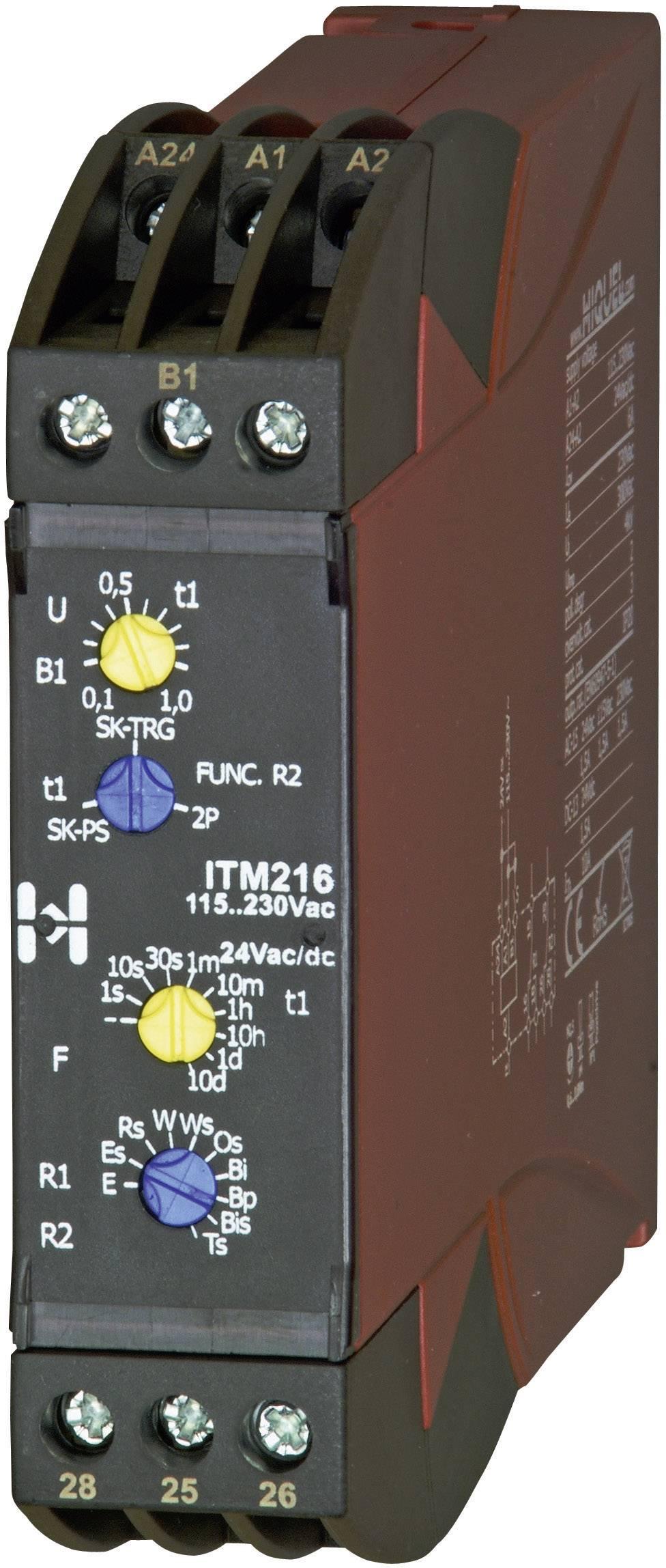 Časové relé multifunkčné Hiquel in-case ITM 216, 2 prepínacie, 1 ks