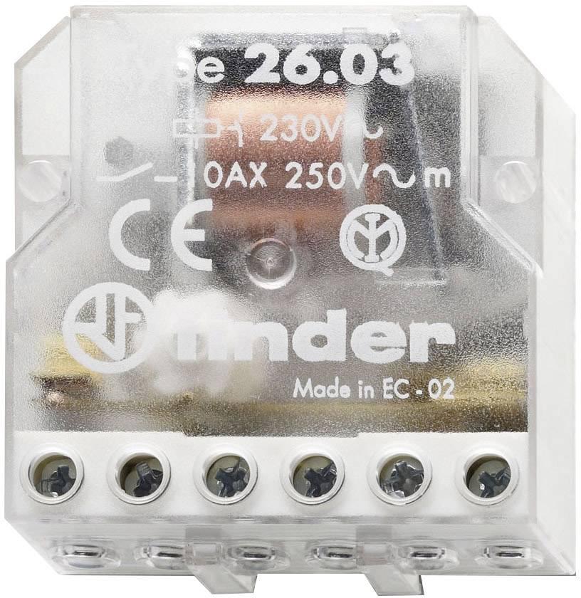 Impulsní spínač Finder 26.03.8.230.0000, 1 spínací kontakt, 1 rozpínací kontakt, 230 V/AC, 10 A, 2500 VA