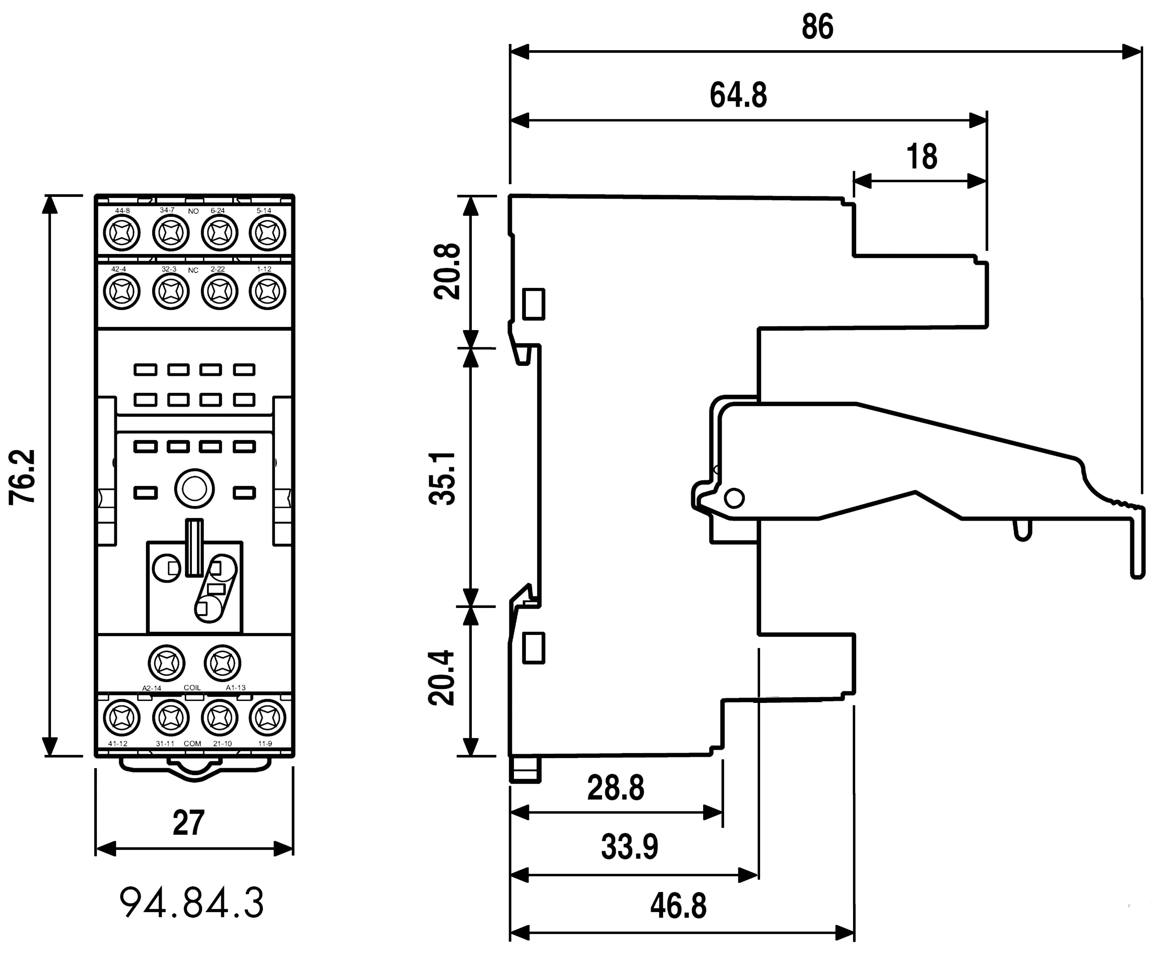 Šroubová patice Finder 94.84.3 pro lištu DIN