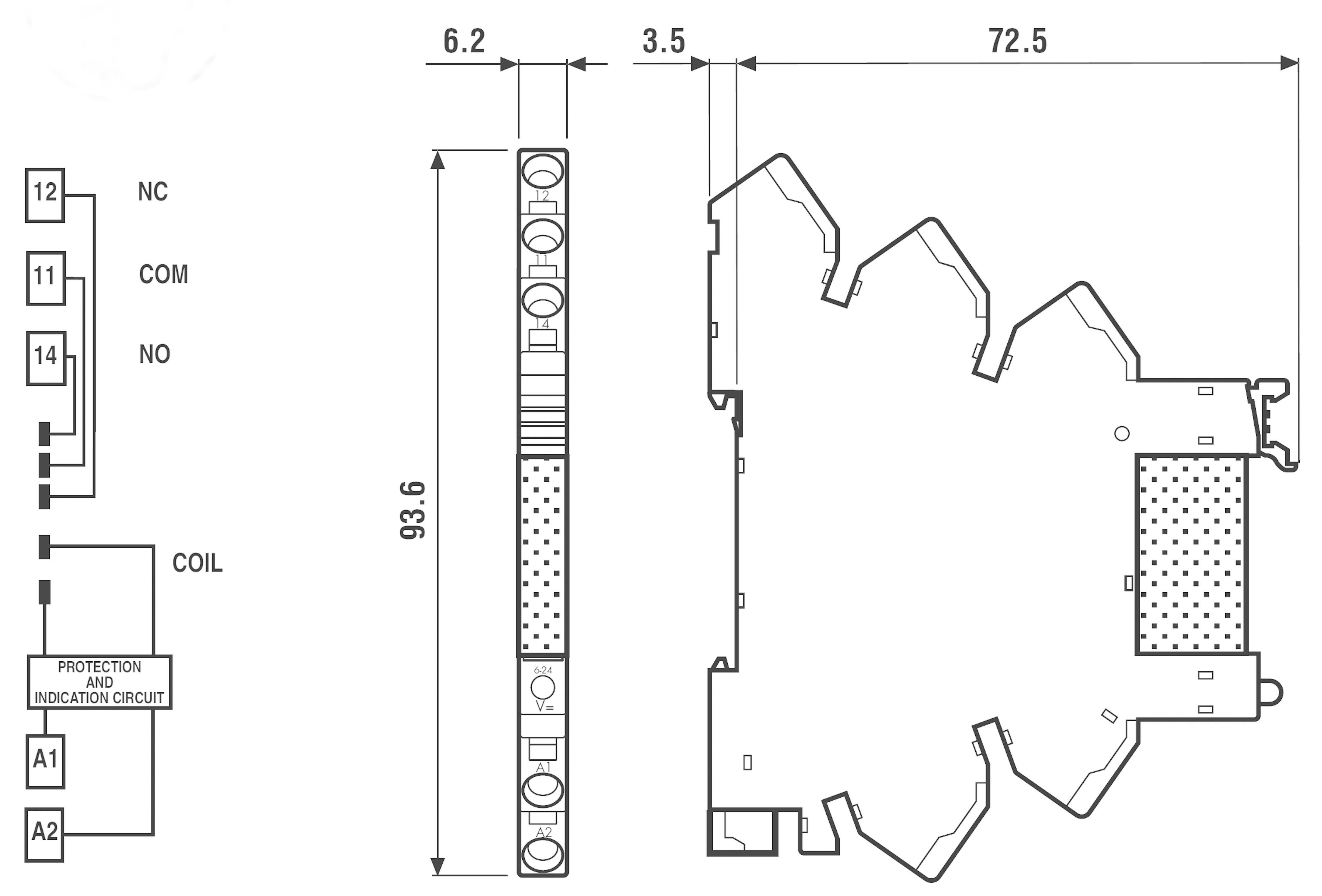 Interface relé Finder 38.61.0.024.0060, 24 V ACDC, 6 A, 6,2mm