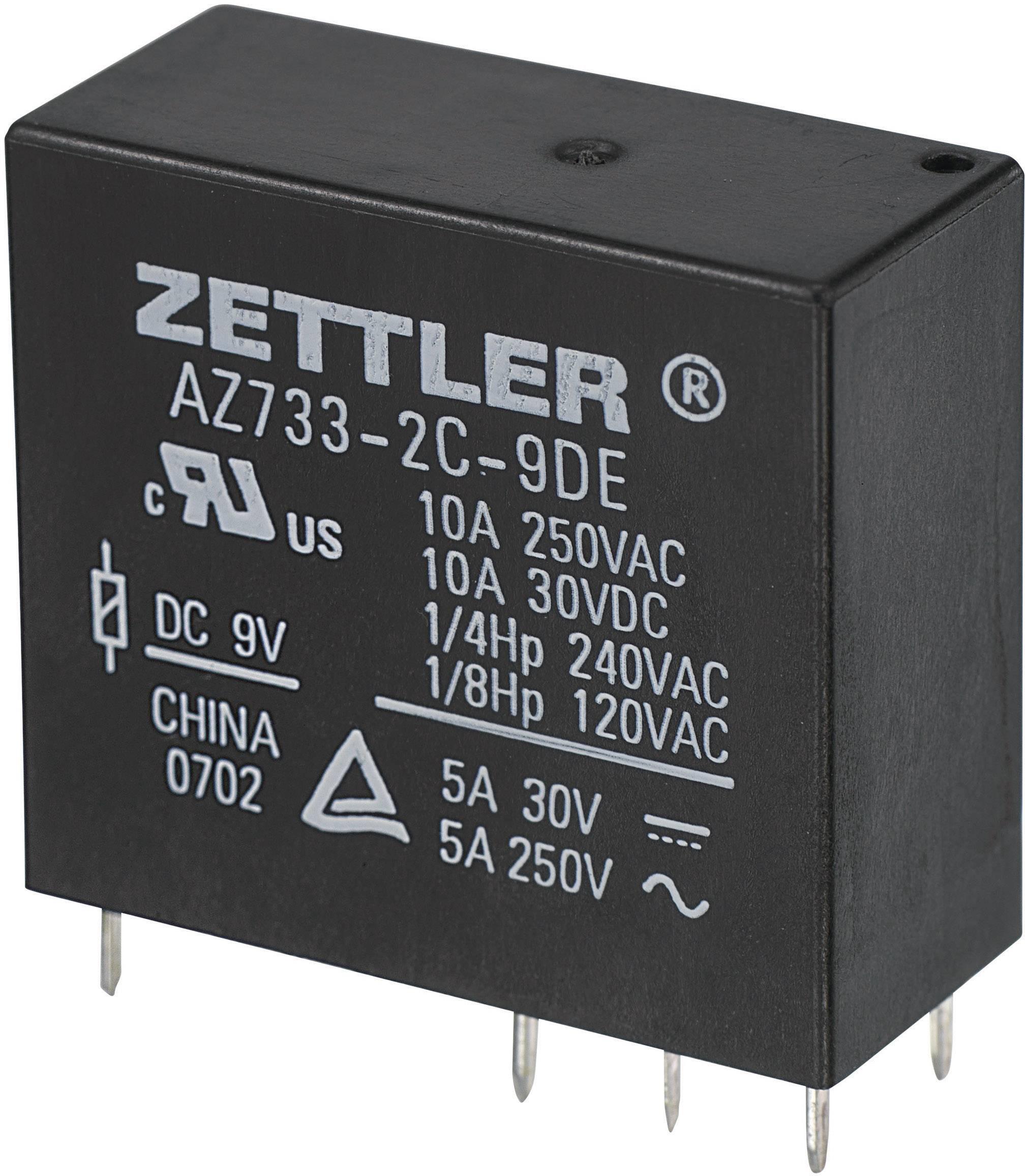 Relé do DPS Zettler Electronics 503617, 9 V/DC, 10 A, 2 prepínacie, 1 ks