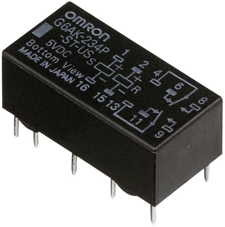 Relé do DPS Omron 24 V/DC, 2 A, 2 prepínacie, 1 ks