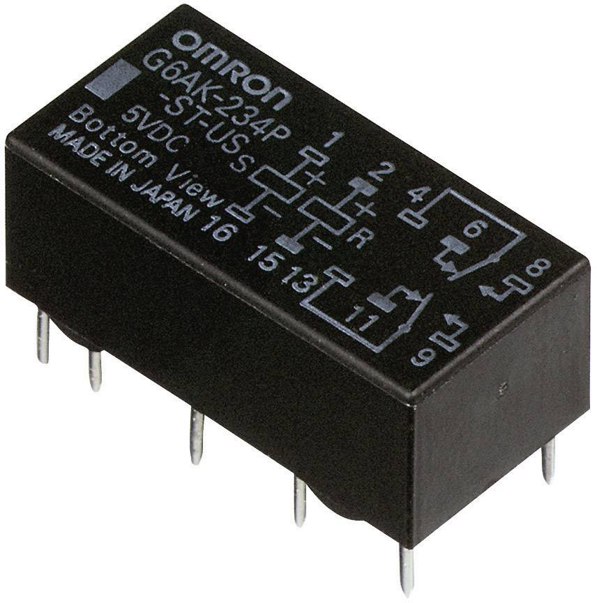 Relé do DPS Omron G6AK-274P-ST-US 24 VDC, 24 V/DC, 2 A, 2 prepínacie, 1 ks