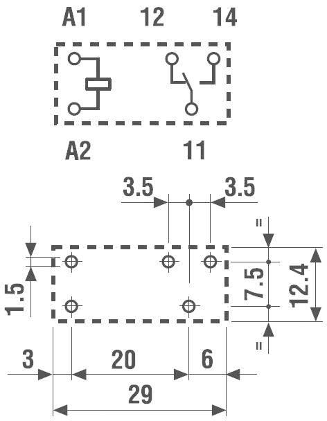 Print relé Finder 40.31.7.024.1020, 12 A, 3,5 mm, 400 V/AC (AC1) 3000 VA