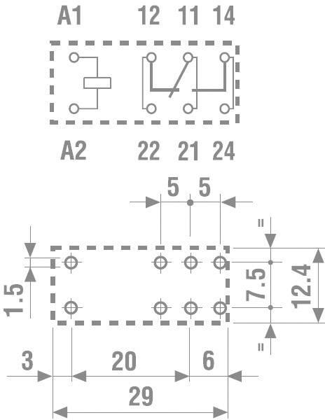 Print relé Finder 40.61.7.024.1020, 16 A, 3,5 mm, 400 V/AC (AC1) 4000 VA