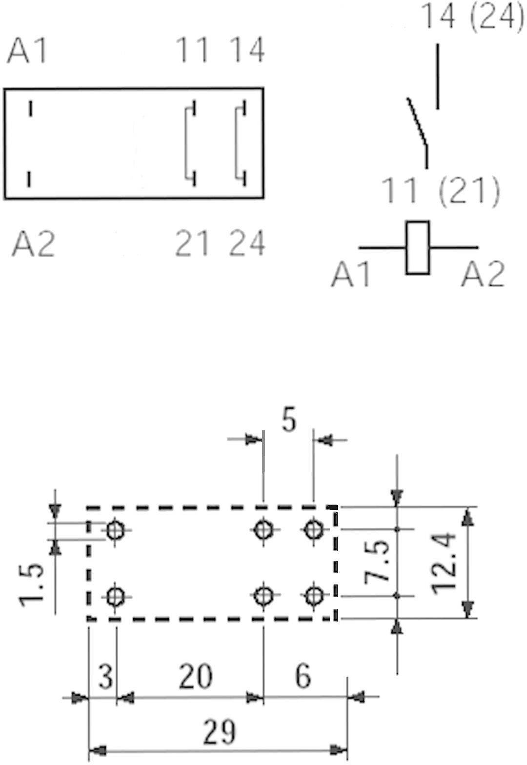 Print relé Finder 40.61.7.012.1320, 16 A, 3,5 mm, 400 V/AC (AC1) 4000 VA