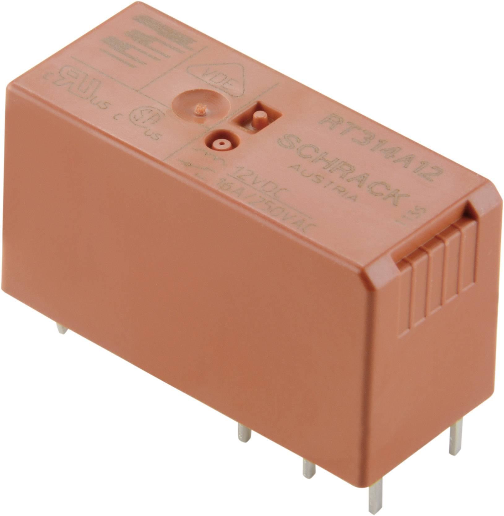 RT-výkon. relé 8 A, 2 x přepínací kontakt TE Connectivity 5-1393243-4, RT424F12, 8 A