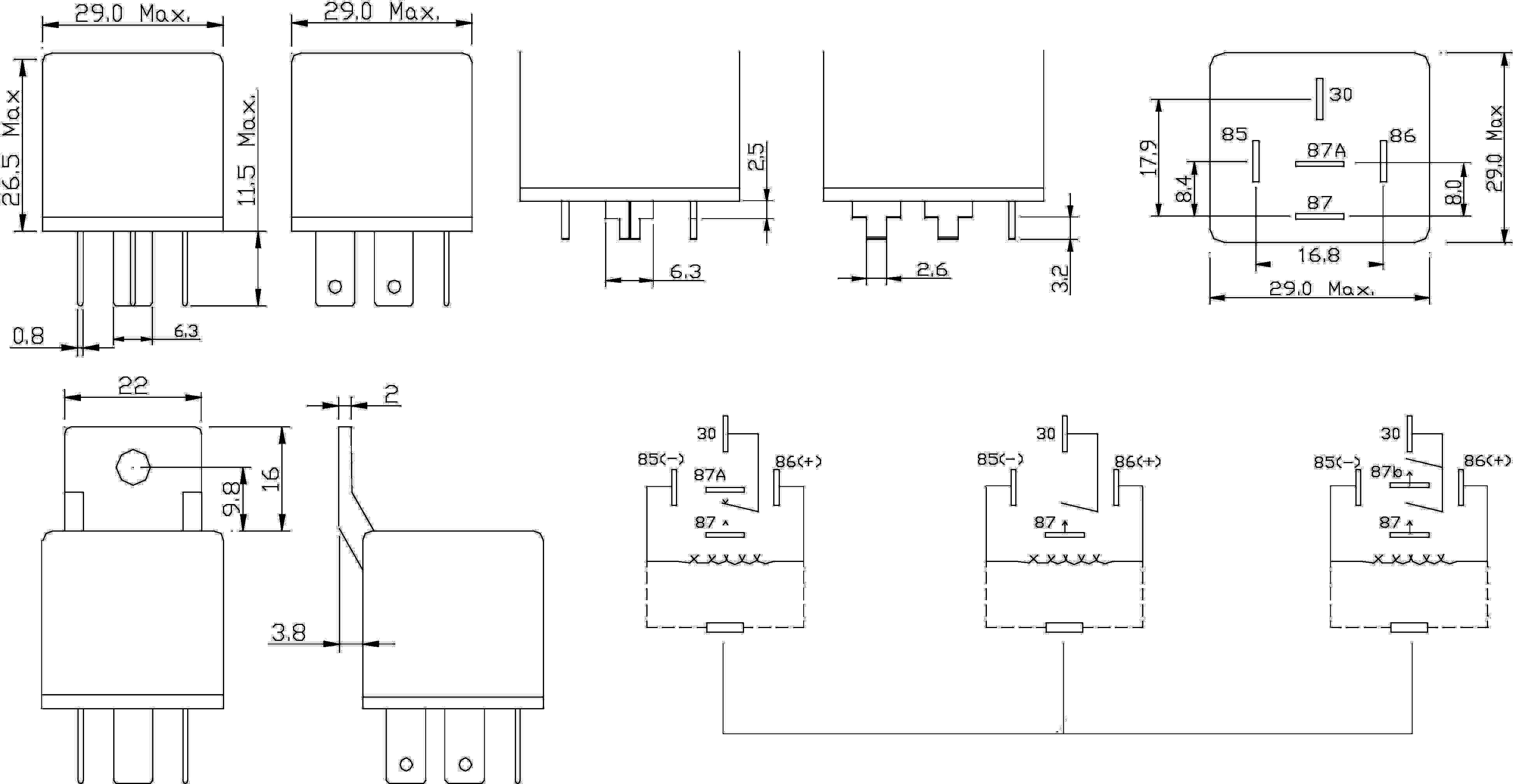 Automobilové relé FiC FRC2C-1-DC12V, 12 V, 50 A
