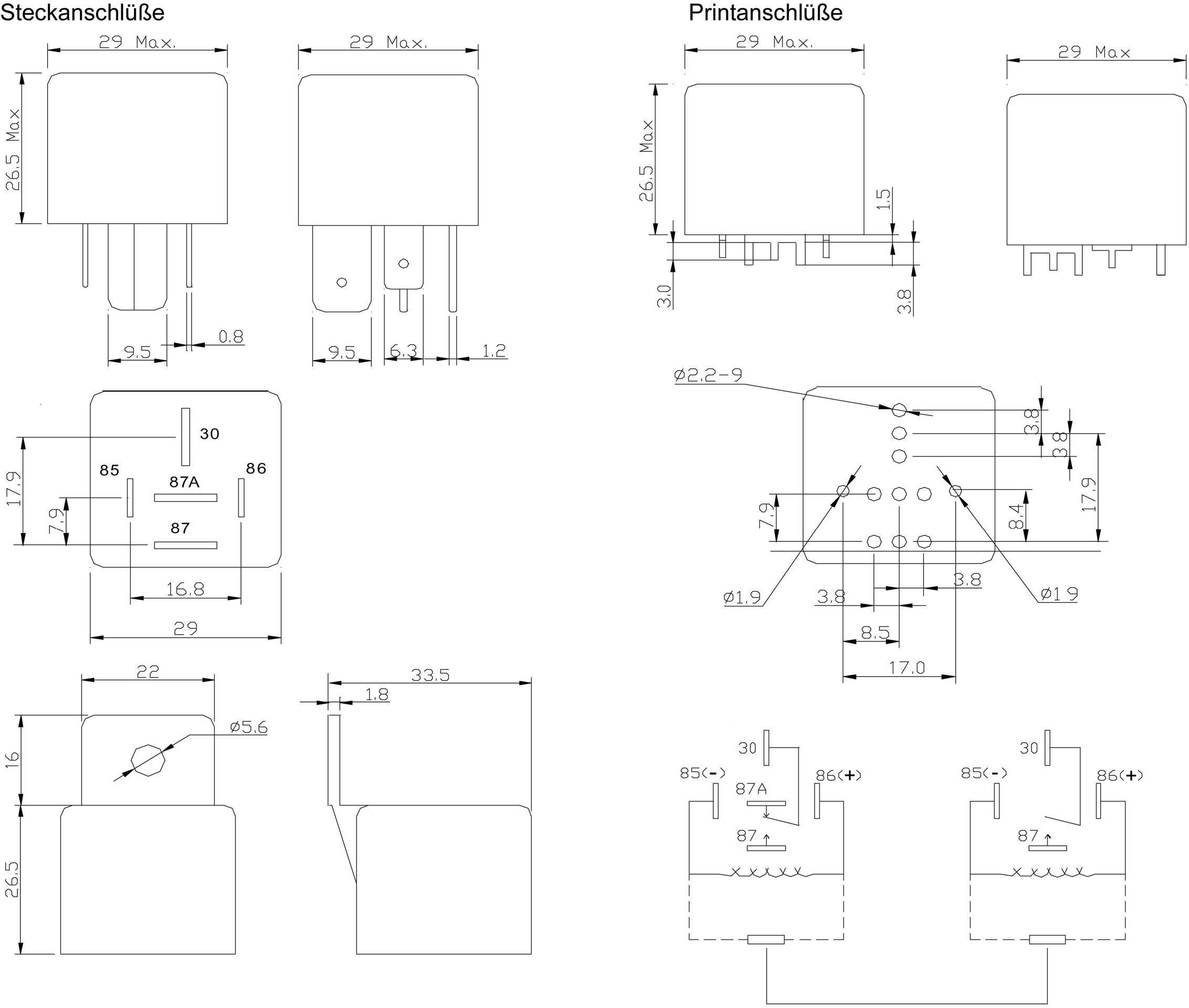 Automobilové relé FiC FRC3A-DC12V, 12 V, 70 A