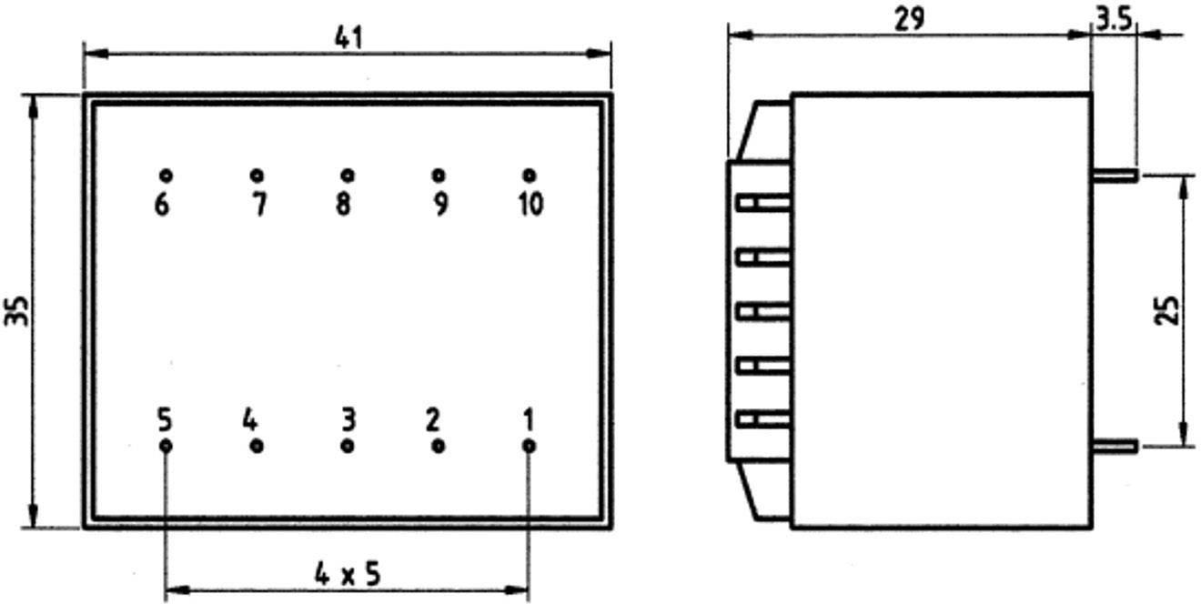 Transformátor do DPS Weiss Elektrotechnik 85/350, 3.20 VA