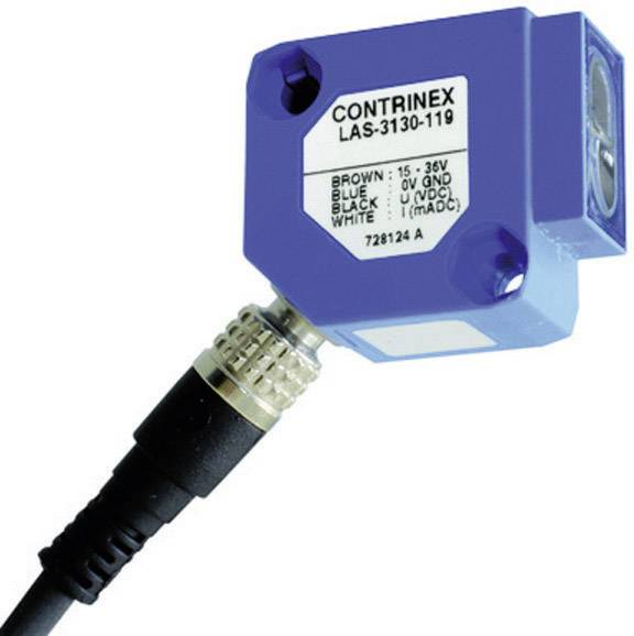 Reflexný optický snímač Contrinex LAS-3130-119, dosah 10 - 100 mm, analógový výstup 10 V, 20