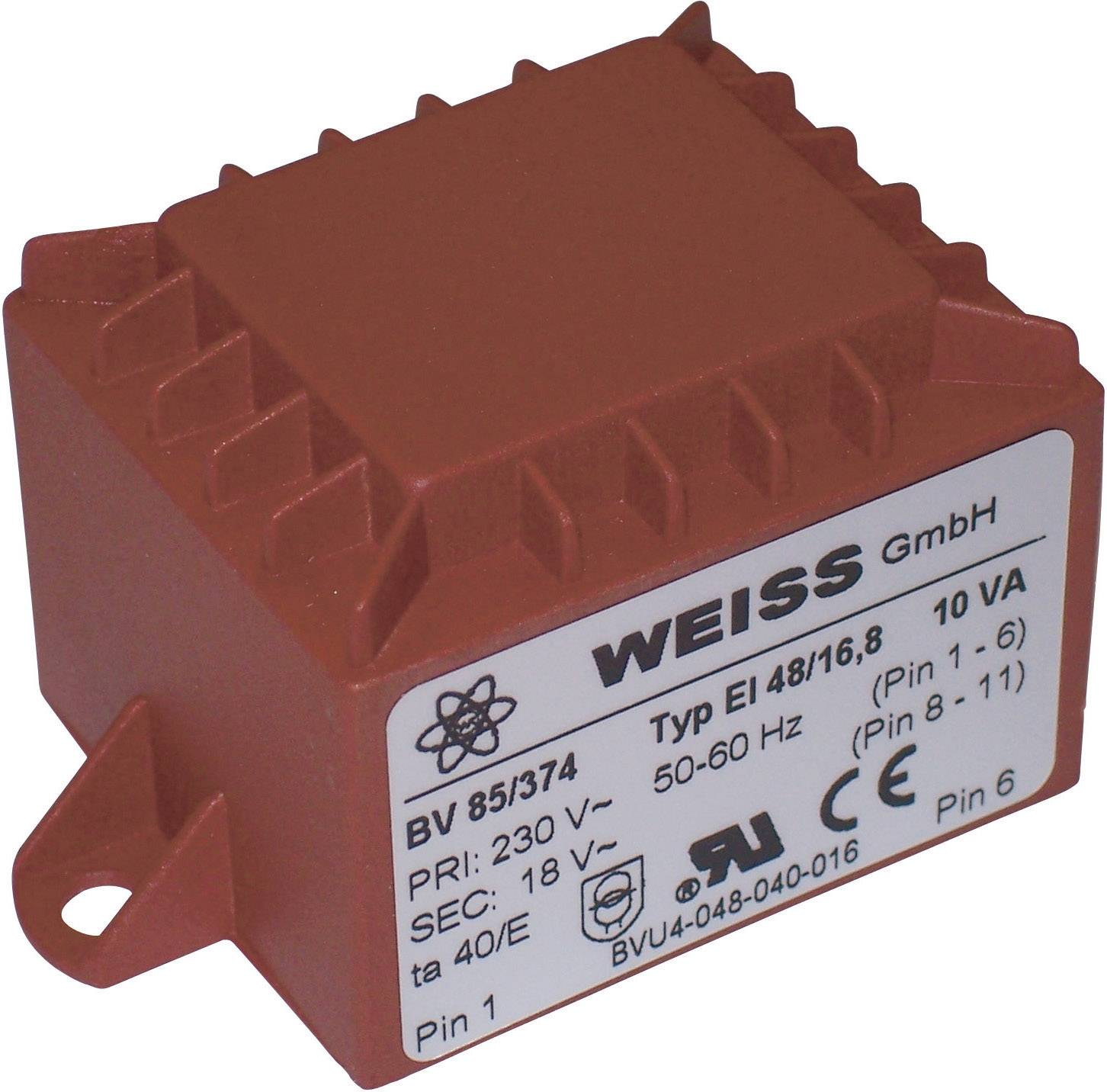 Transformátor do DPS Weiss Elektrotechnik 85/378, 10 VA