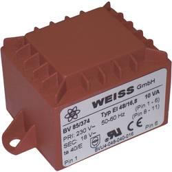 Transformátor do DPS Weiss Elektrotechnik EI 48, prim: 230 V, Sek: 2x 9 V, 556 mA, 10 VA