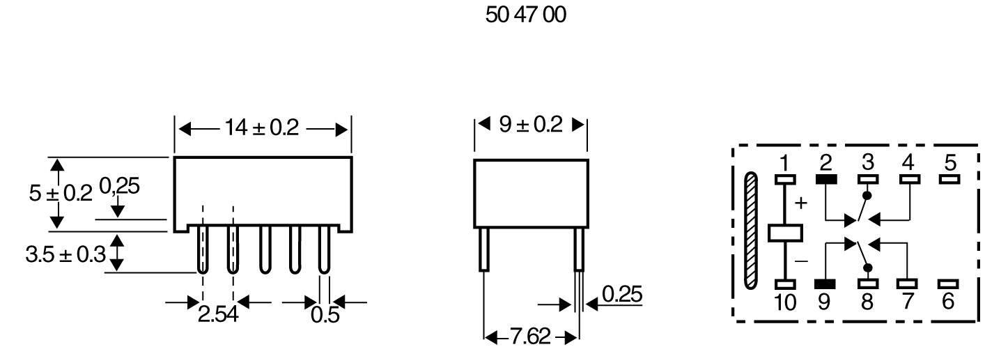 Subminiatúrne ploché relé 5V/DC