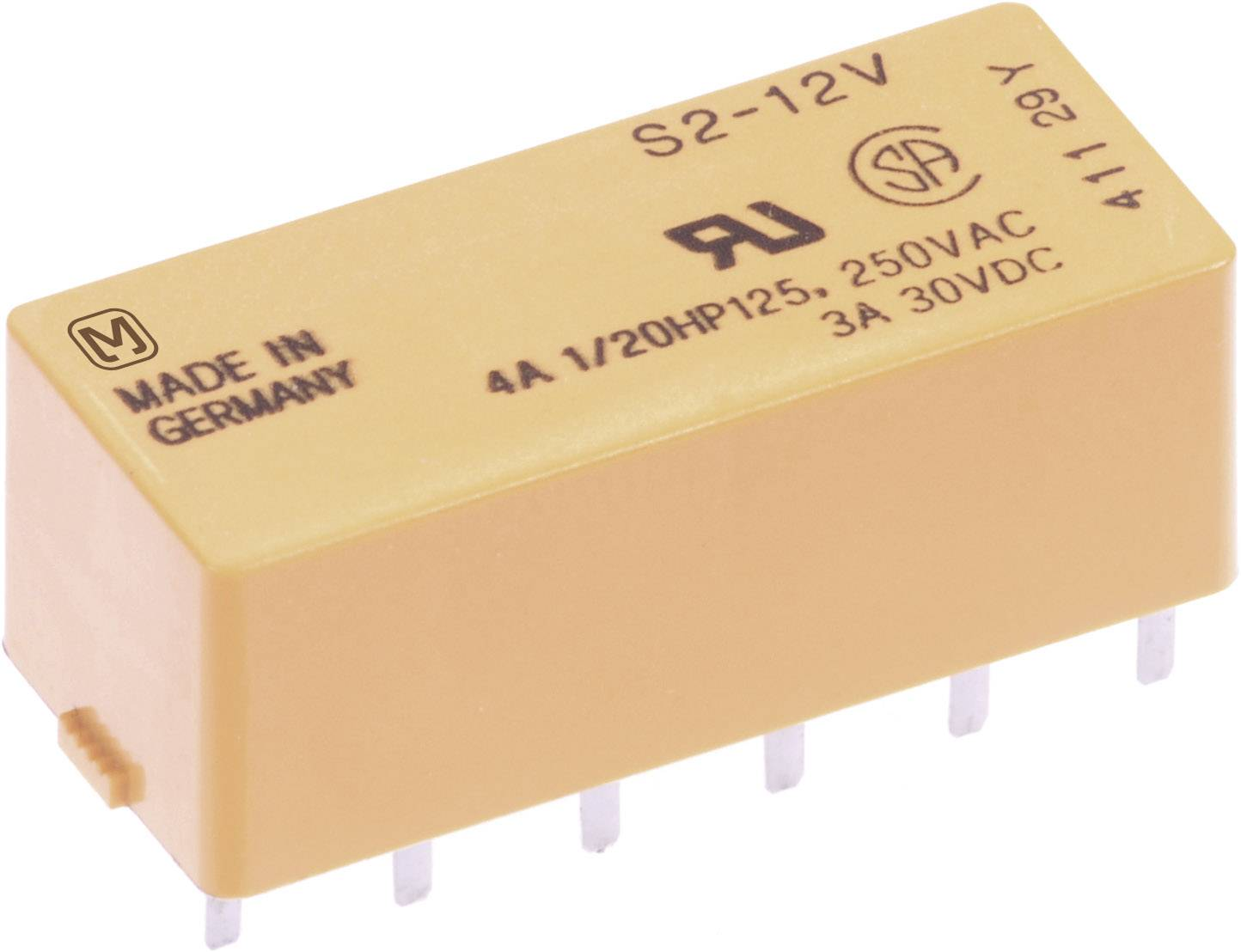 Výkonové relé S 4 A, Print Panasonic S412, S412, 200 mW, 4 A, (DC) 3 A/(AC) 4 A , 30 V/DC/250 V/AC 90 W/1000 VA