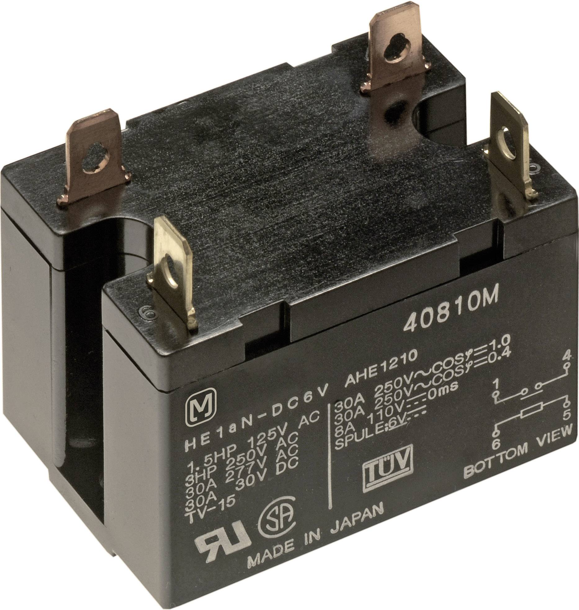 Výkonové relé HE 30 A, ploché zásuvkové připojení Panasonic HE1AN12, HE1AN12, 1920 mW, 30 A