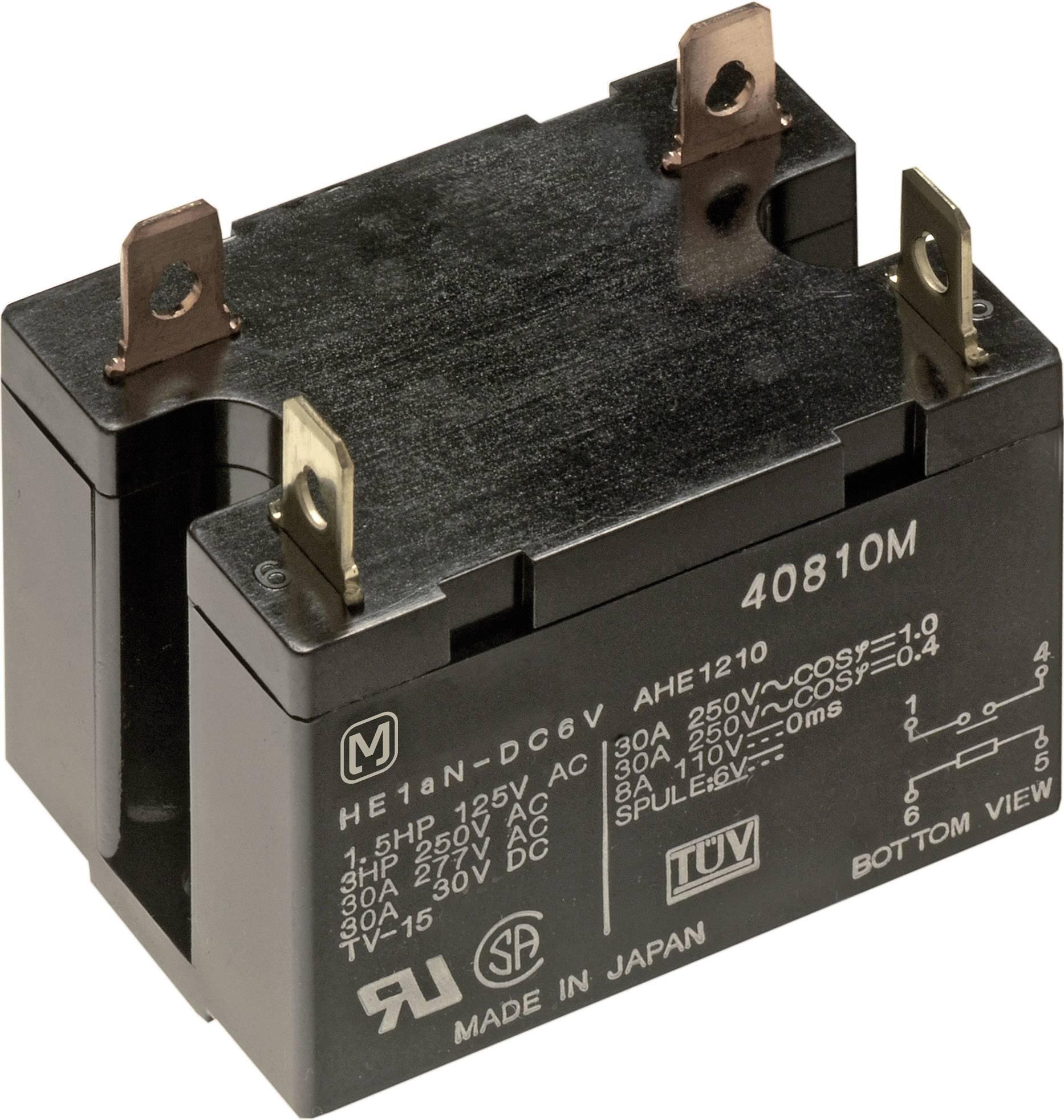Výkonové relé HE 30 A, ploché zásuvkové připojení Panasonic HE2AN24, HE2AN24, 1920 mW, 30 A