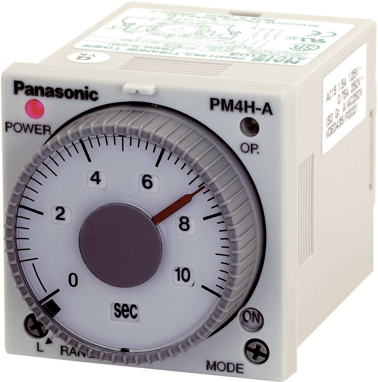 Časové relé multifunkčné Panasonic PM4HAH24SJ, 24 V/DC, 24 V/AC PM4HAH24SJ, čas.rozsah: 1 s - 500 h, 2 prepínacie, 1 ks