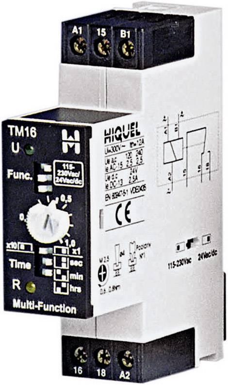 Časové relé multifunkčné Hiquel TM16+, 24 V/DC, 24 V/AC, 230 V/AC TM16+, čas.rozsah: 0.1 - 100 h, 1 prepínací, 1 ks