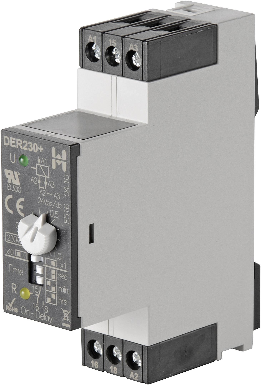 Časové relé monofunkčné Hiquel DER 230/24V = DER230+, 24 V/DC, 24 V/AC, 230 V/AC DER230+, čas.rozsah: 0.1 - 100 h, 1 prepínací, 1 ks