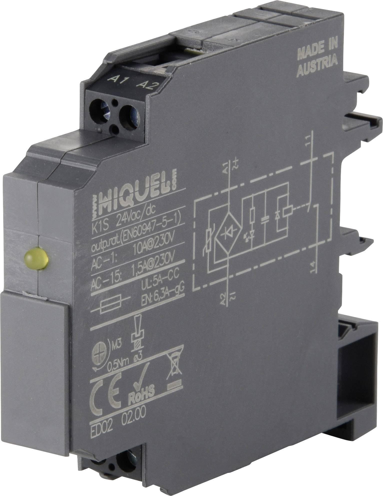 Relé - prevodník rozhrania Hiquel K1S 24Vac/dc, 24 V/DC, 24 V/AC, 10 A, 1 spínací, 1 ks