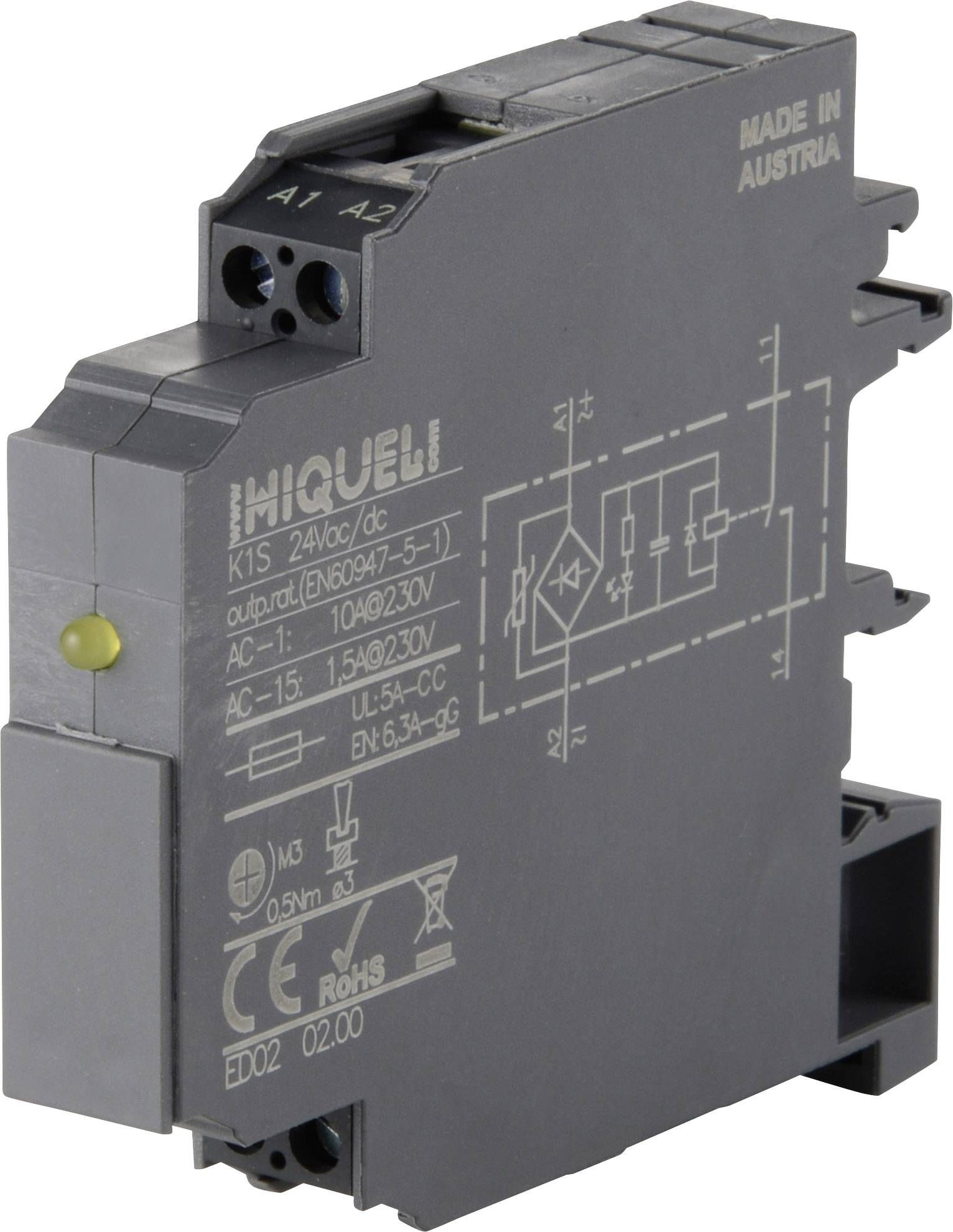 Vazební relé Hiquel, K1W 230 V/AC, 10 A, 11,25 mm