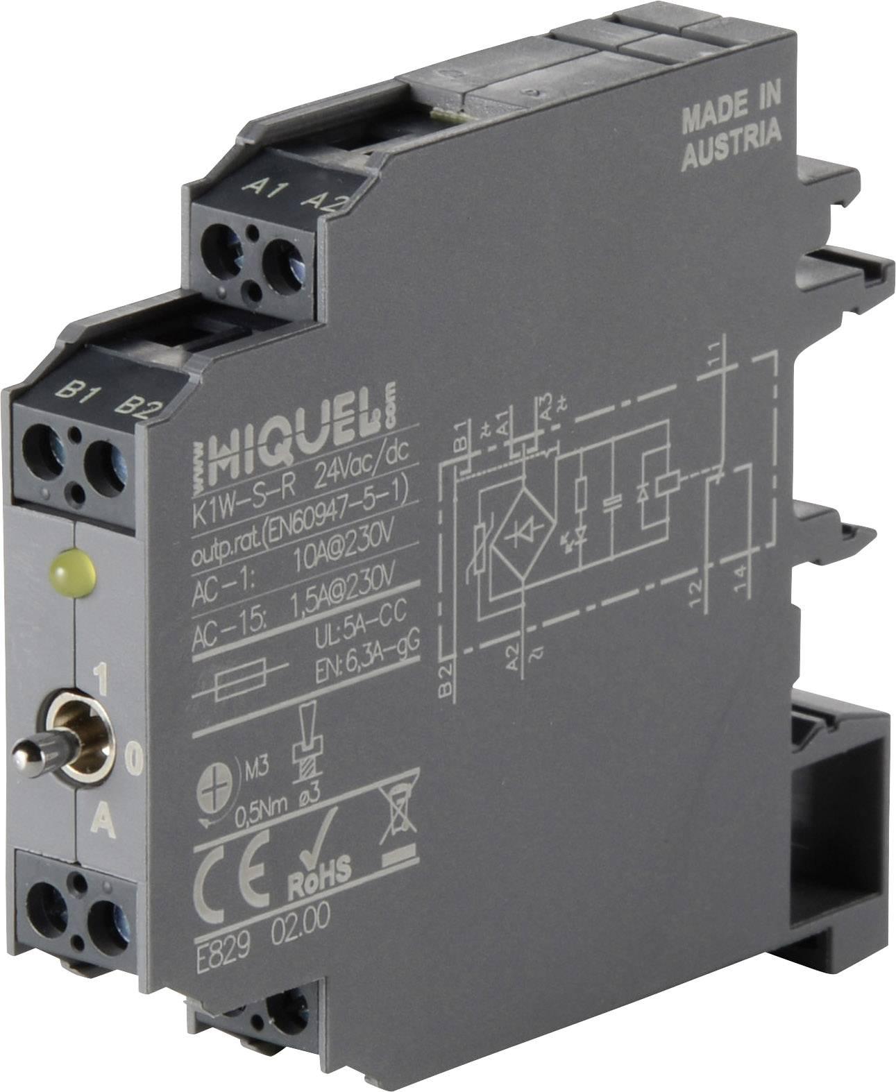 Relé - prevodník rozhrania Hiquel K1W-S-R 24 Vac/dc, 24 V/DC, 24 V/AC, 10 A, 1 prepínací, 1 ks