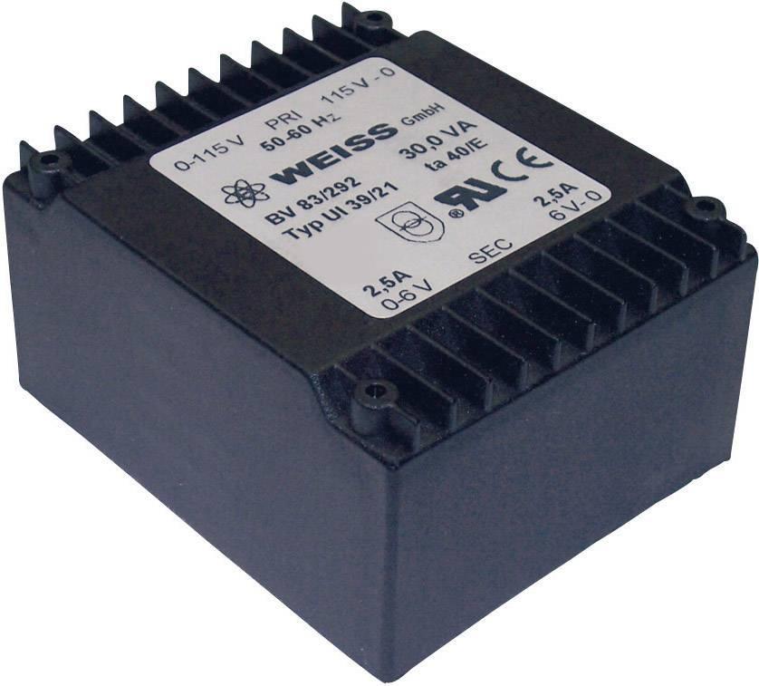 Plochý transformátor Weiss UI 39, 2x 115 V/2x 9 V, 2x 1667 mA, 30 VA
