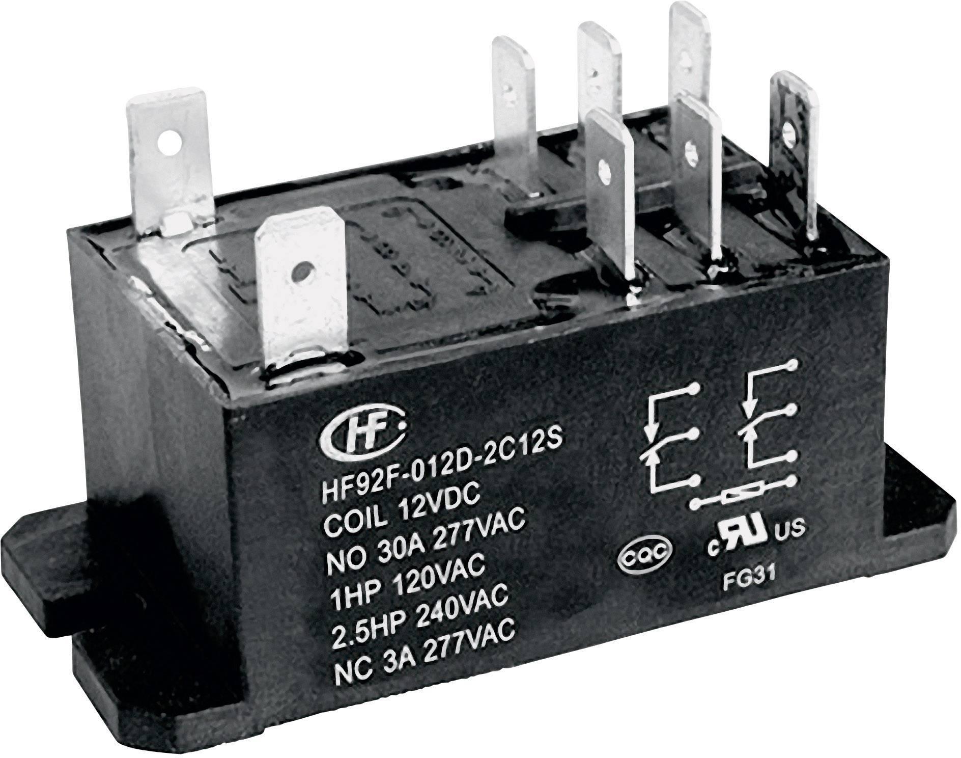 Hongfa HF92F-012D-2A21S, 12 V/DC, 30 A, 2 spínacie, 1 ks
