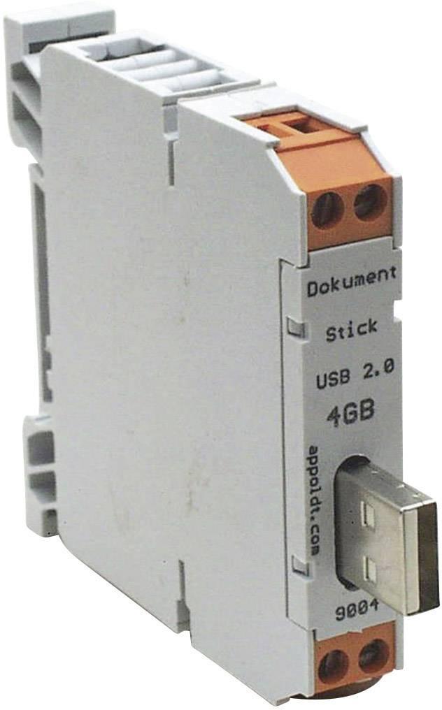 USB zástrčka na DIN lištu Appoldt USB2.0-16GB-A (9013), 62 mm, 12 mm, 62 mm
