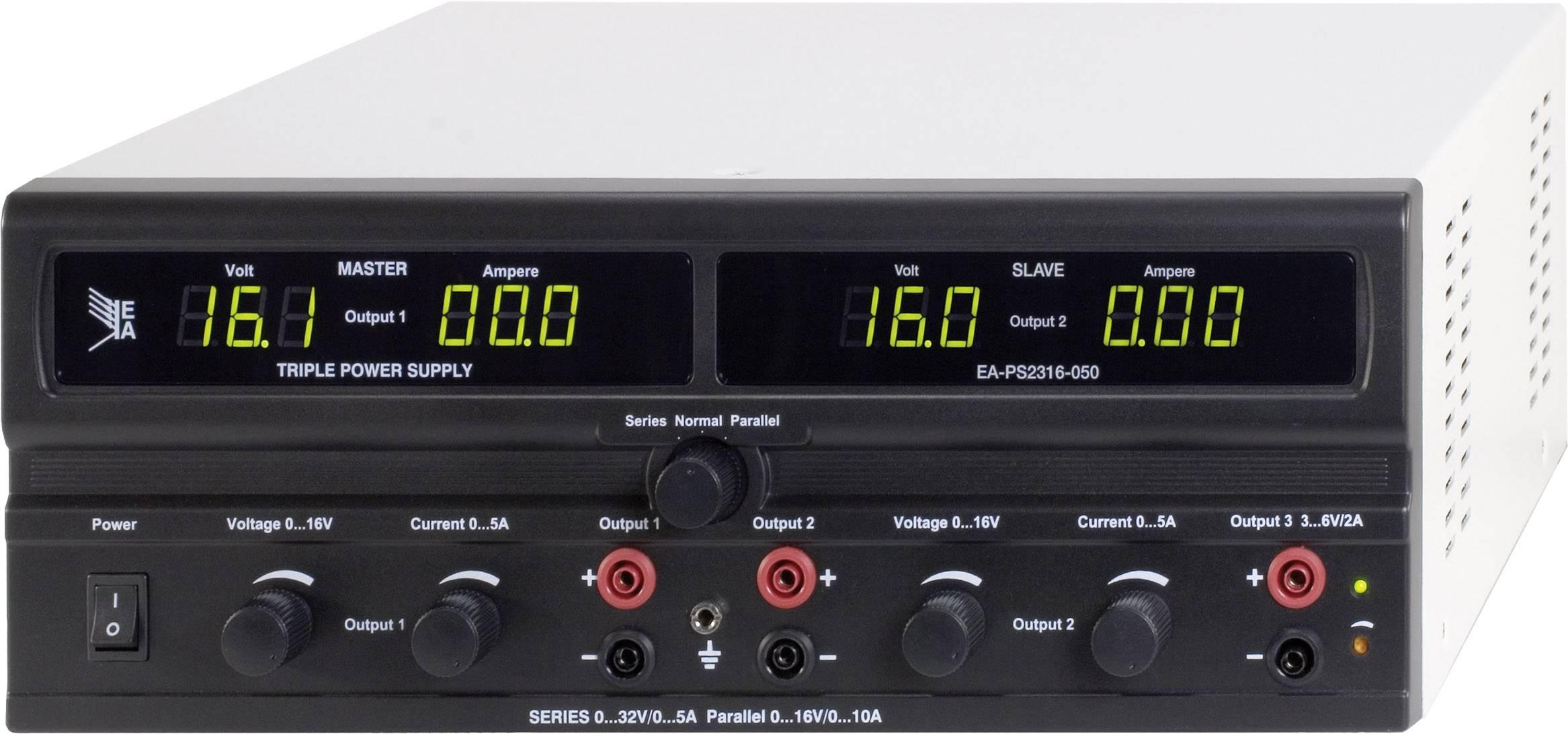 Dvojitý laboratórny sieťový zdroj EA-PS 2316-050, 0 - 16 VDC, 0 - 5 A