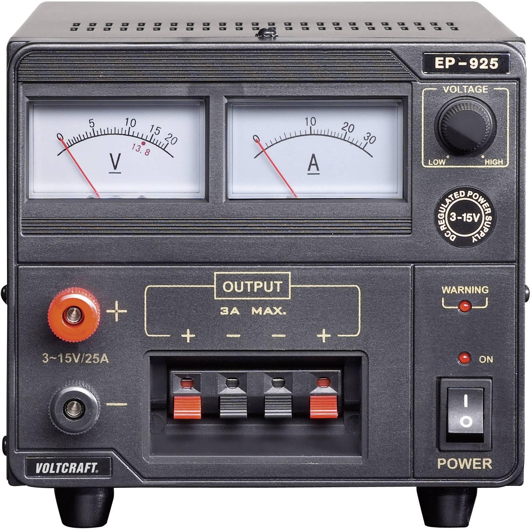 Laboratórny lineárny zdroj Voltcraft EP-925, 3 - 15 VDC, 25 A