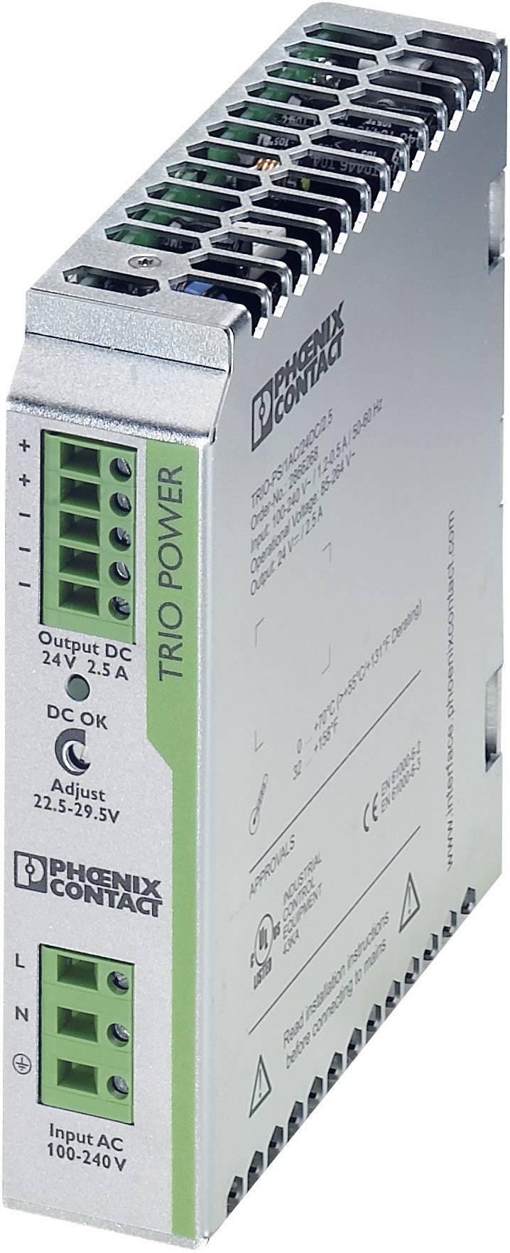 Sieťový zdroj na montážnu lištu (DIN lištu) Phoenix Contact TRIO-PS/1AC/24DC/2.5, 1 x, 24 V/DC, 2.5 A, 60 W