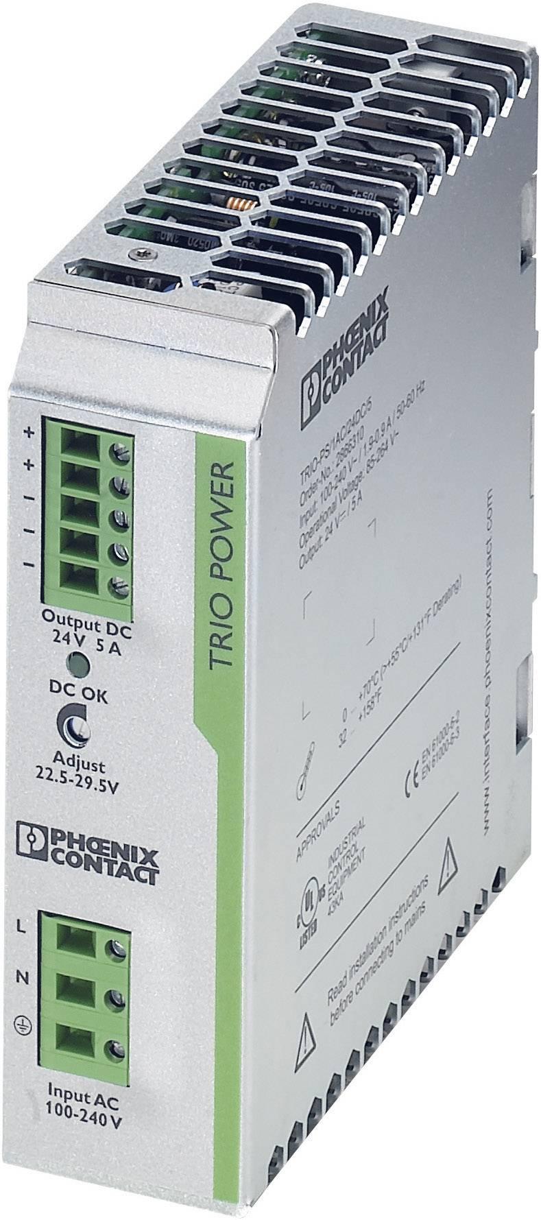 Sieťový zdroj na montážnu lištu (DIN lištu) Phoenix Contact TRIO-PS/1AC/24DC/5, 1 x, 24 V/DC, 5 A, 120 W