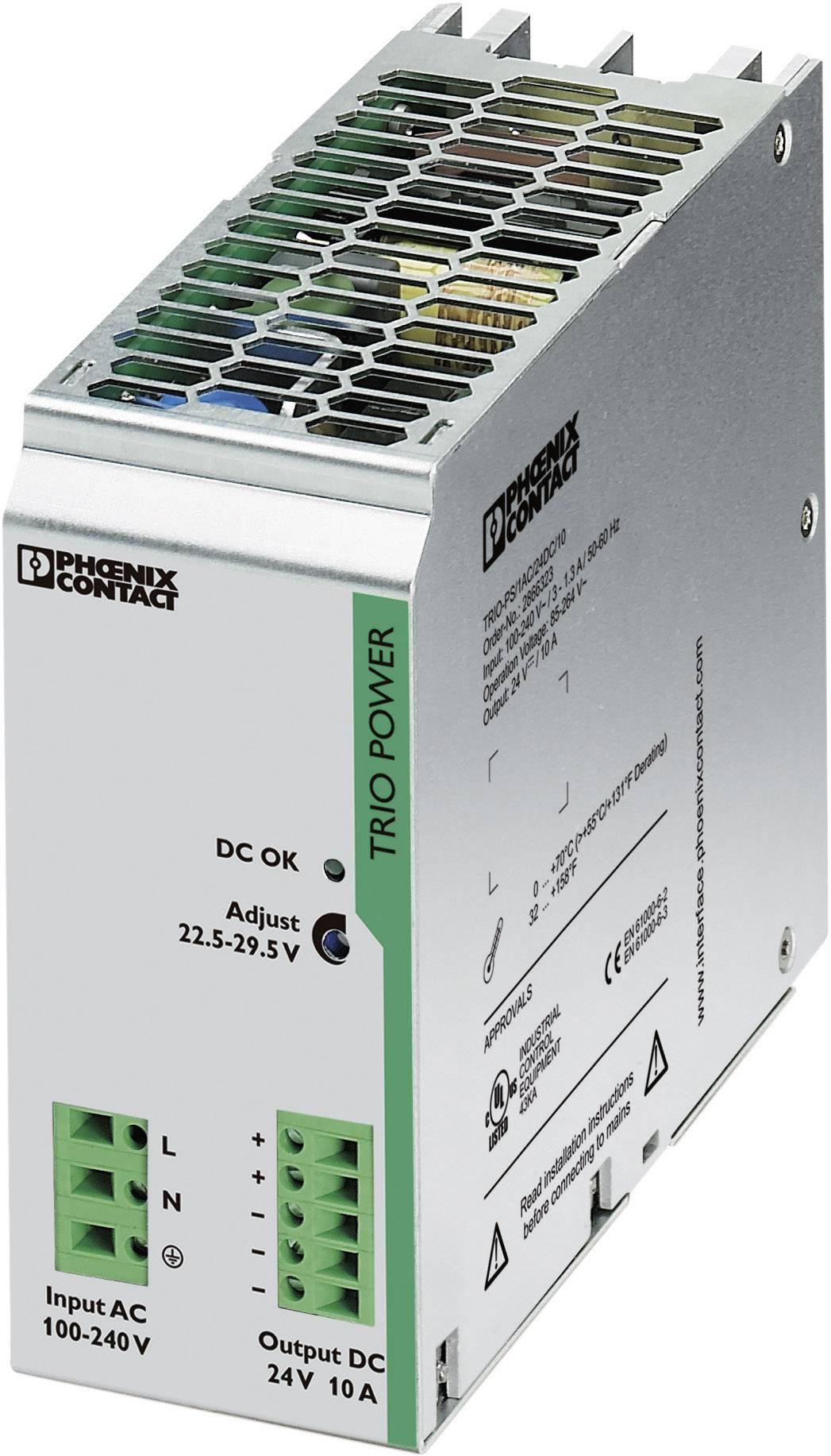 Sieťový zdroj na montážnu lištu (DIN lištu) Phoenix Contact TRIO-PS/1AC/24DC/10, 1 x, 24 V/DC, 10 A, 240 W
