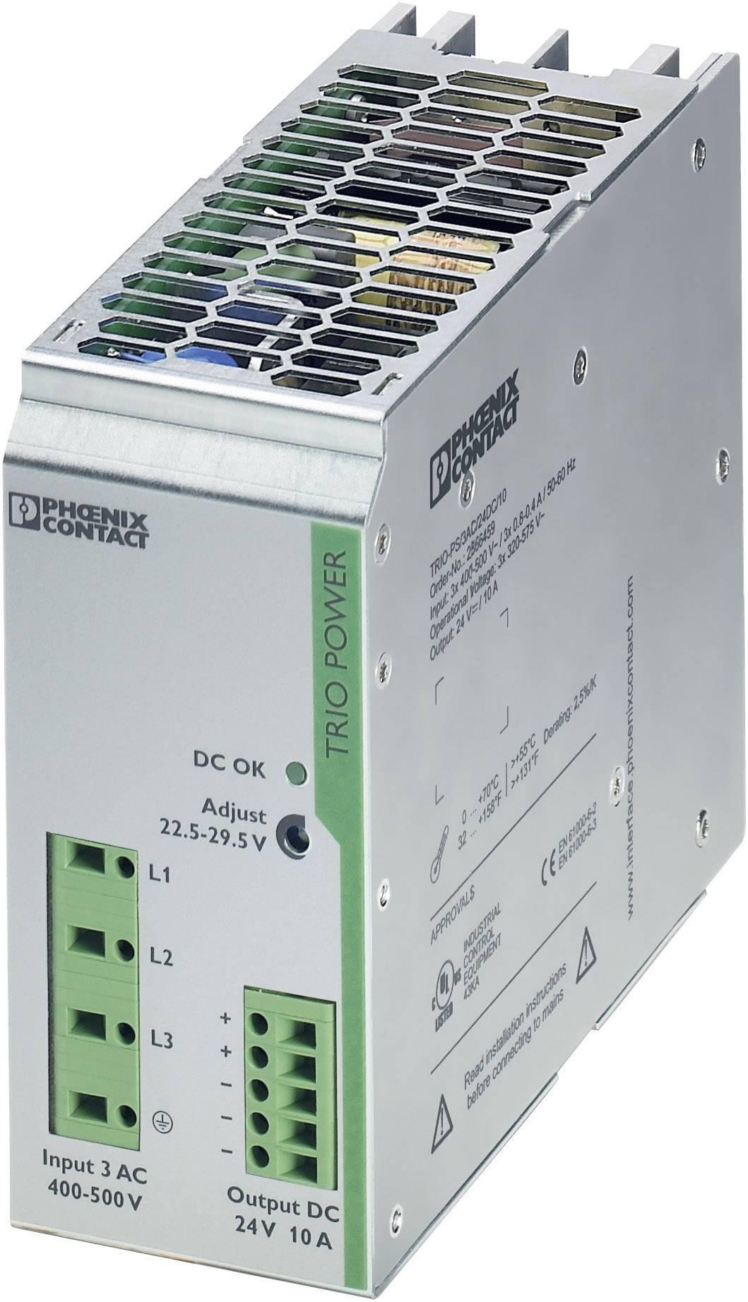 Sieťový zdroj na montážnu lištu (DIN lištu) Phoenix Contact TRIO-PS/3AC/24DC/10, 1 x, 24 V/DC, 10 A, 240 W
