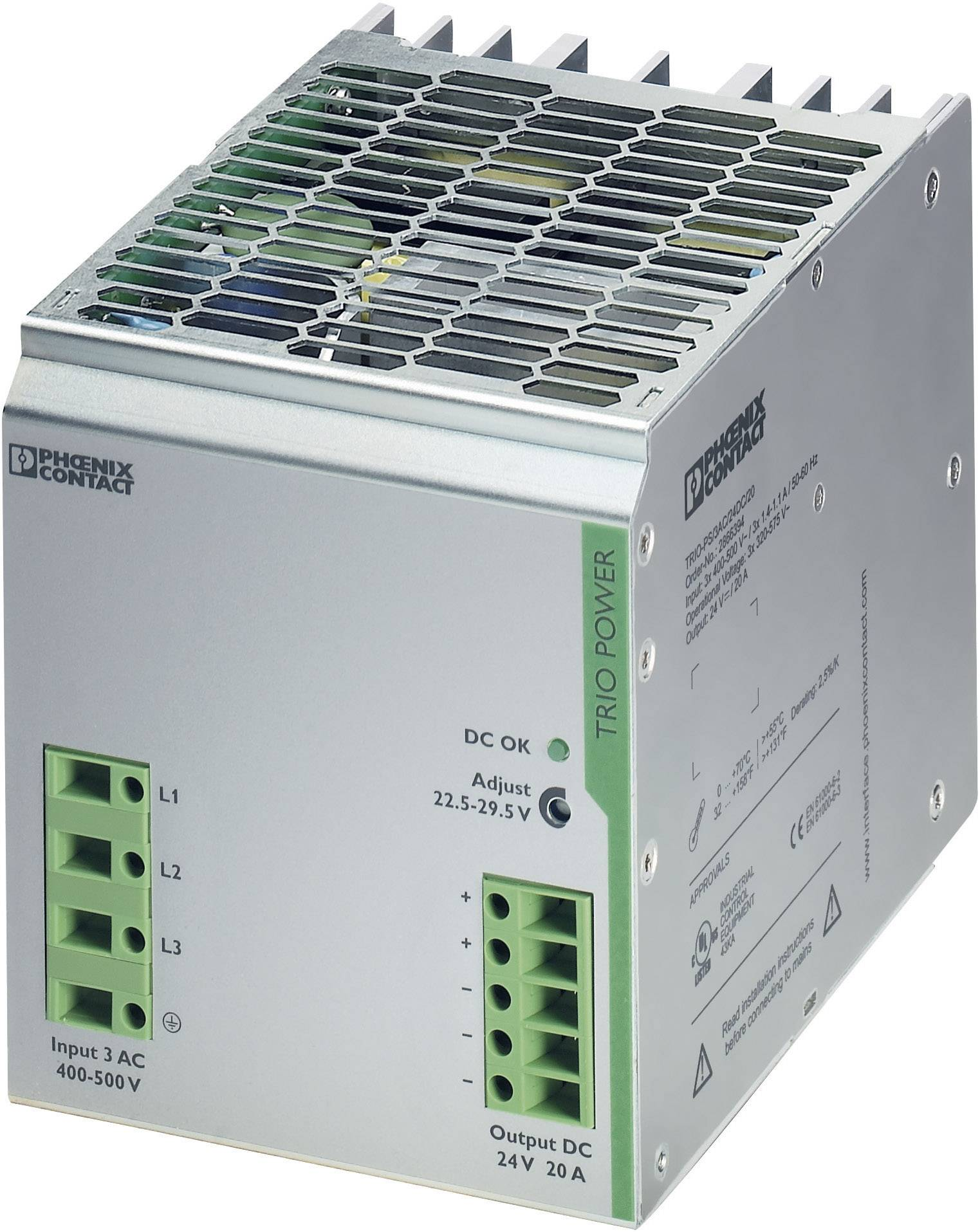 Sieťový zdroj na montážnu lištu (DIN lištu) Phoenix Contact TRIO-PS/3AC/24DC/20, 1 x, 24 V/DC, 20 A, 480 W