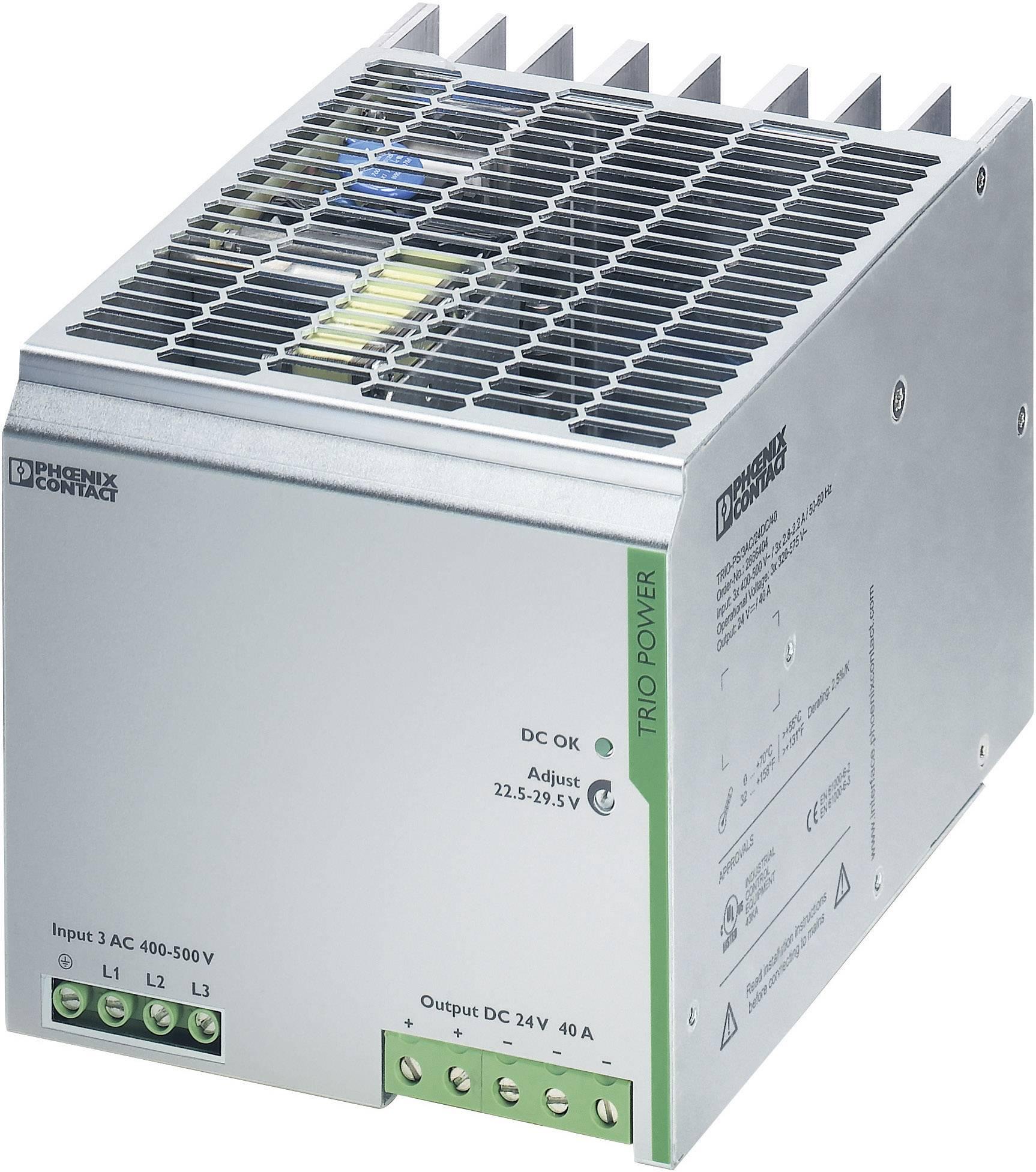 Sieťový zdroj na montážnu lištu (DIN lištu) Phoenix Contact TRIO-PS/3AC/24DC/40, 1 x, 24 V/DC, 40 A, 960 W