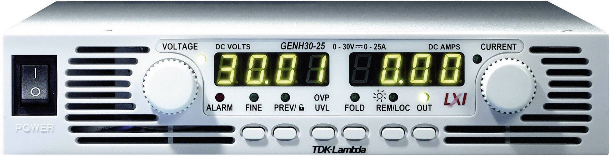 "19"" laboratórny zdroj s nastaviteľným napätím TDK-Lambda GENH-30-25/LN, 0 - 30 V/DC, 0 - 25 A"