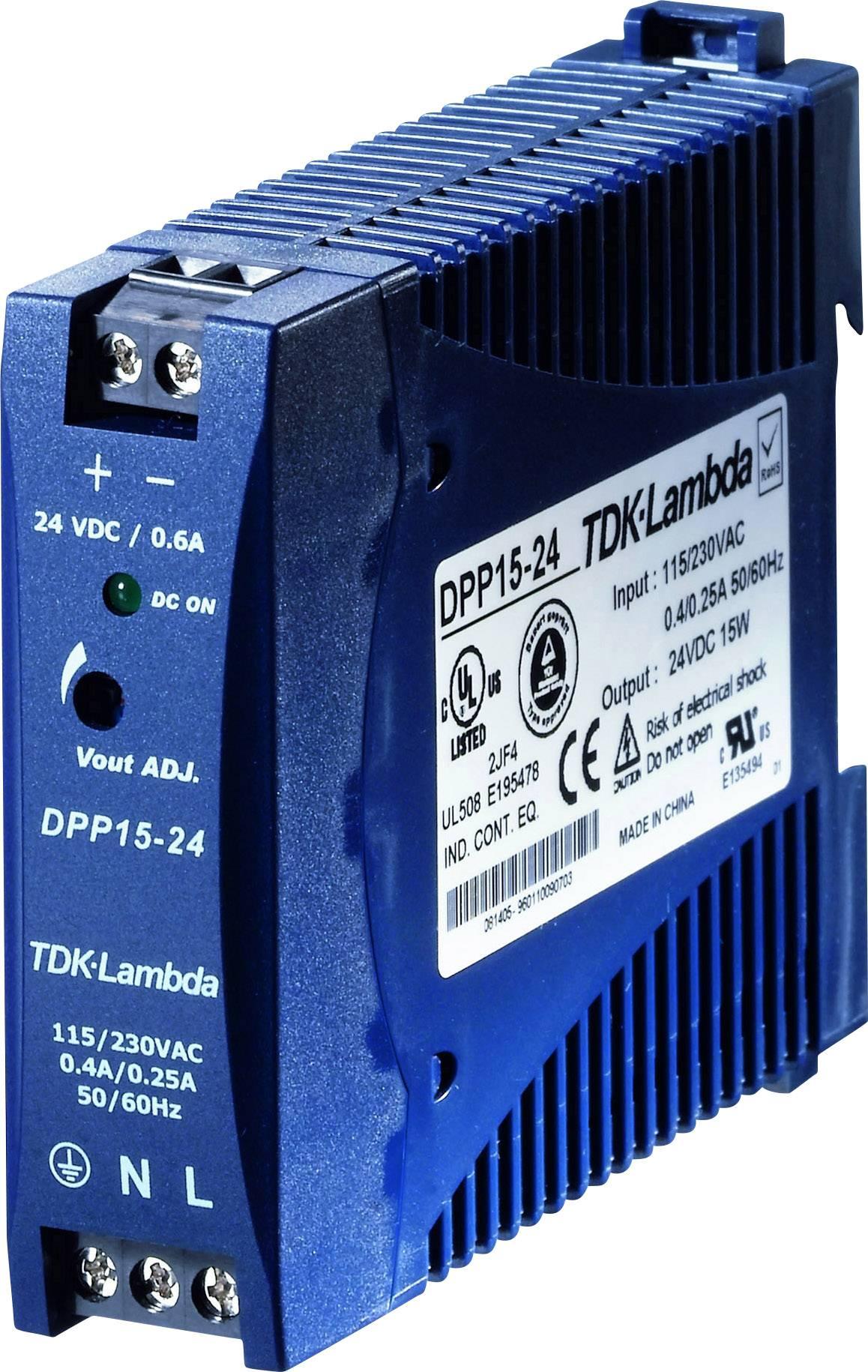 Sieťový zdroj na montážnu lištu (DIN lištu) TDK-Lambda DPP-15-24, 1 x, 24 V/DC, 0.63 A, 15 W