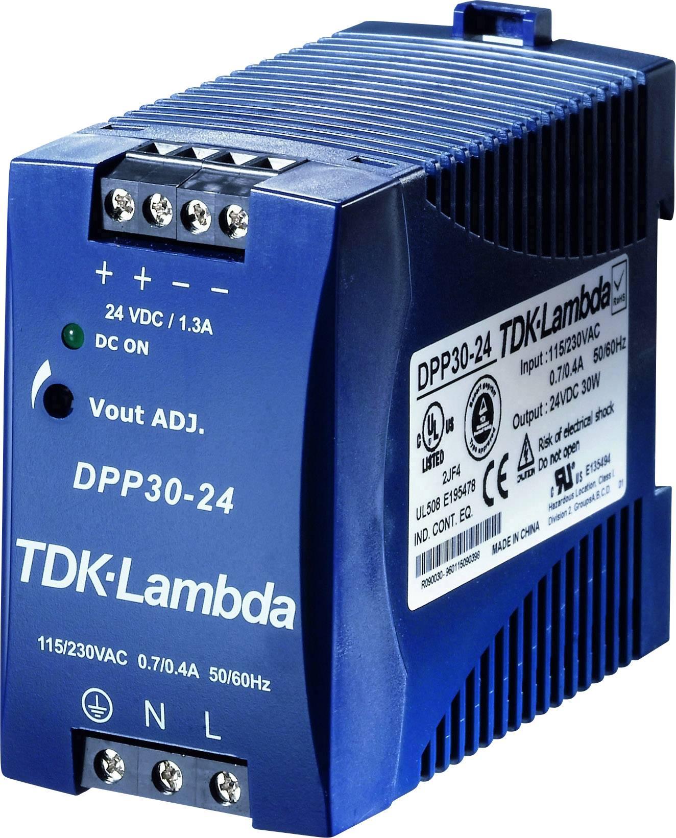 Sieťový zdroj na montážnu lištu (DIN lištu) TDK-Lambda DPP-30-24, 1 x, 24 V/DC, 1.3 A, 30 W