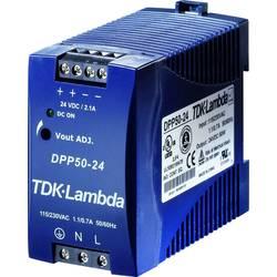 Sieťový zdroj na montážnu lištu (DIN lištu) TDK-Lambda DPP-50-24, 1 x, 24 V/DC, 2.1 A, 50 W