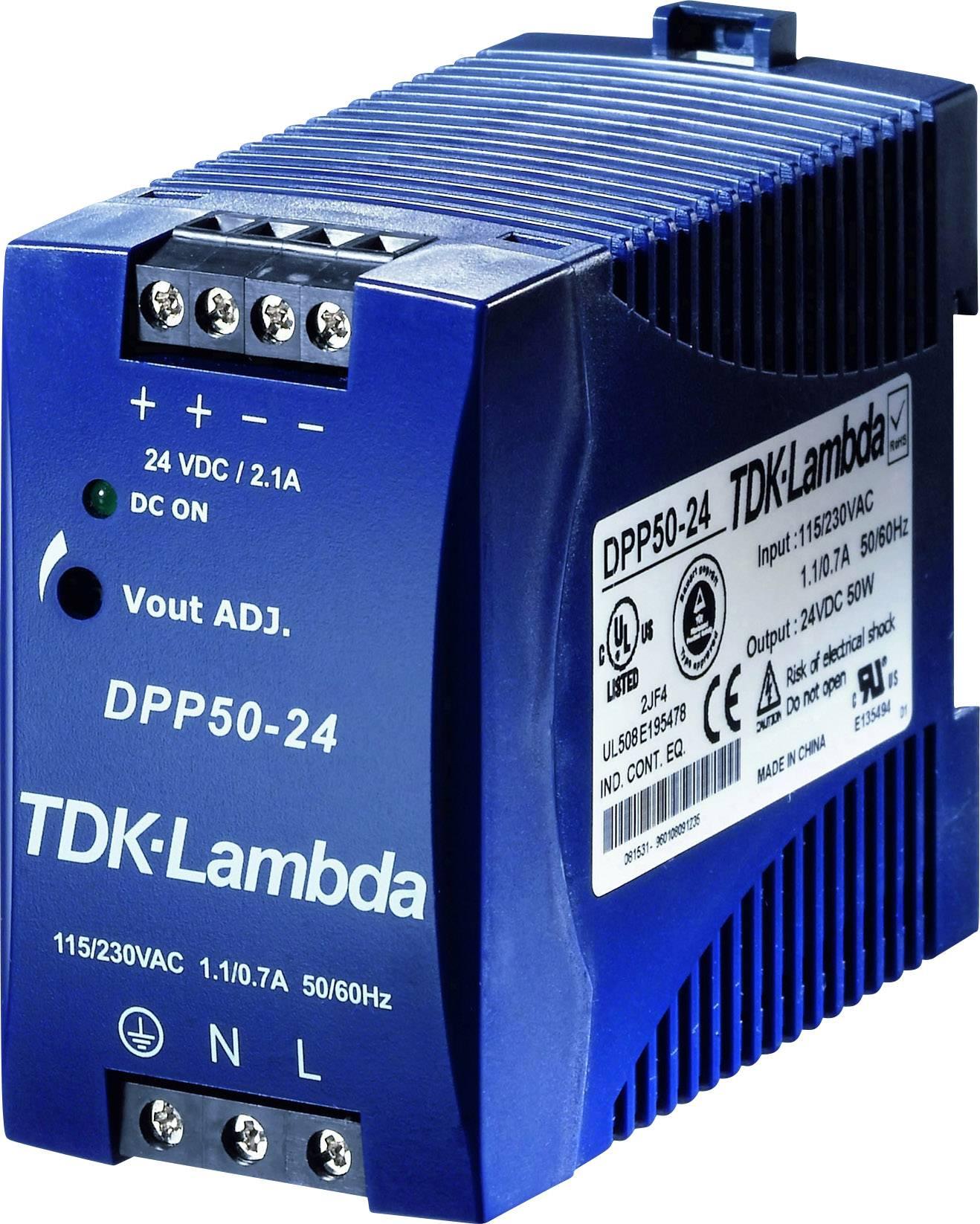 Sieťový zdroj na montážnu lištu (DIN lištu) TDK-Lambda DPP-50-48, 1 x, 48 V/DC, 1.05 A, 50 W
