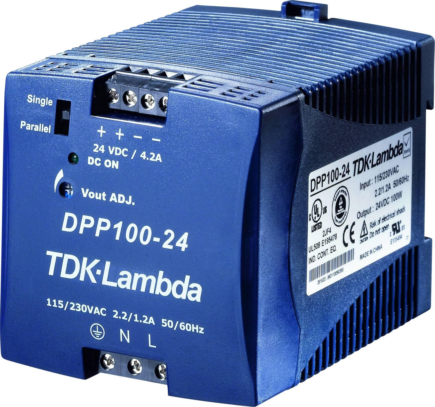 Zdroj na DIN lištu TDK-Lambda DPP100-24, 24 V/DC, 4,2 A