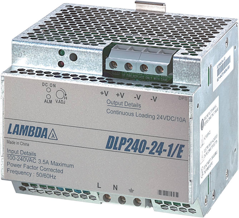 Sieťový zdroj na montážnu lištu (DIN lištu) TDK-Lambda DLP-240-24-1/E, 1 x, 24 V/DC, 10 A, 240 W