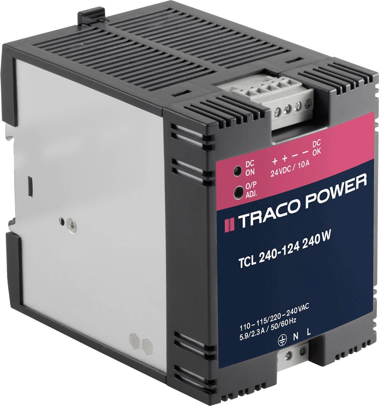Sieťový zdroj na montážnu lištu (DIN lištu) TracoPower TCL 240-124, 1 x, 24 V/DC, 10 A, 240 W