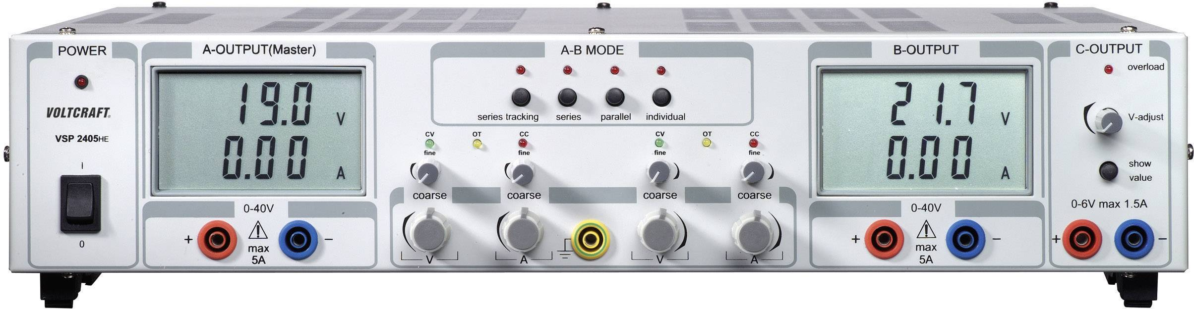 Laboratórny sieťový zdroj Voltcraft VSP- 2405, 0.1 - 40 VDC, 0 - 5 A