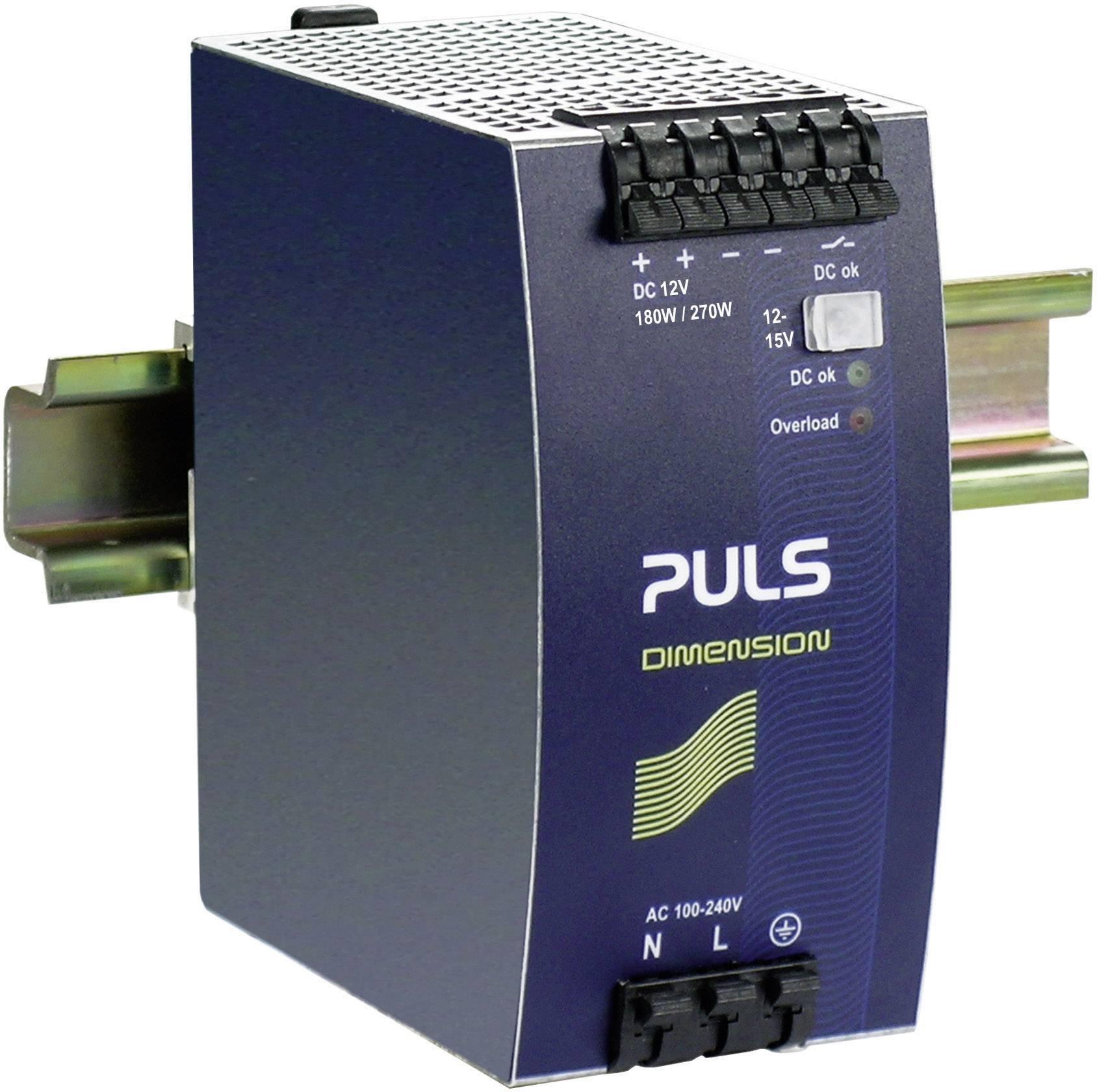 Sieťový zdroj na montážnu lištu (DIN lištu) PULS DIMENSION QS10.121, 1 x, 12 V/DC, 15 A, 180 W