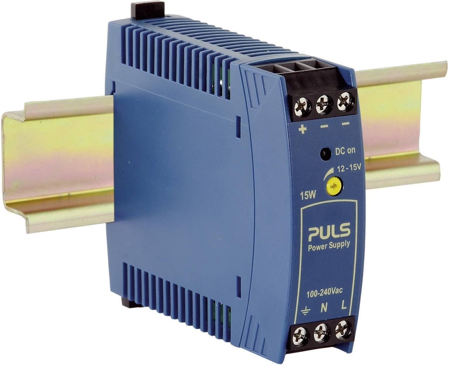Sieťový zdroj na montážnu lištu (DIN lištu) PULS MiniLine ML15.121, 1 x, 12 V/DC, 1.3 A, 15 W